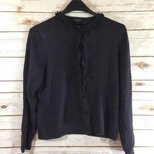 Lands End Black Cardigan Women Size Small S 6-8